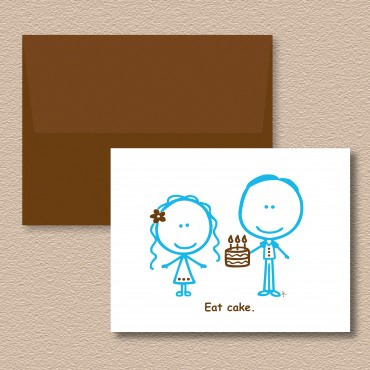 Eat Cake Couple Horiz Env New
