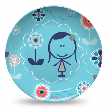 Felittle Large Flowers Blue Plate